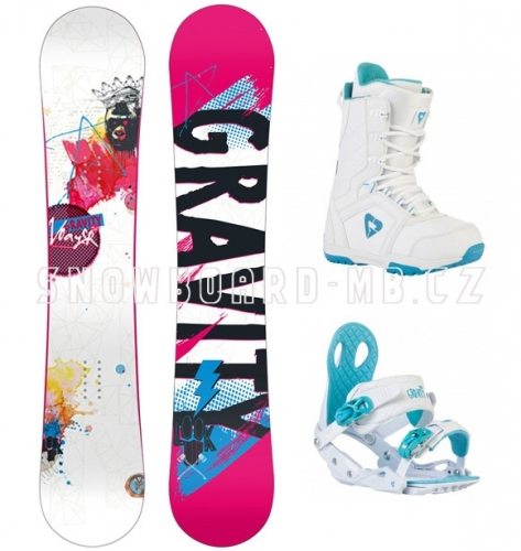 0efc7aecf Dámské snowboardy, snb komplet Gravity Voayer, bílá, modrá, růžová barva