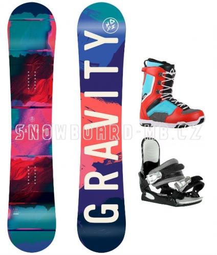Dívčí a dámský snowboard komplet Gravity Fairy, barevné boty Max blue/red - VÝPRODEJ