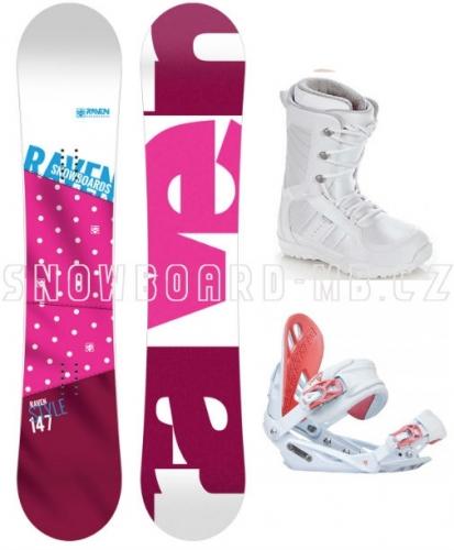 Dámský snowboardový komplet Raven Style růžový a boty bílé