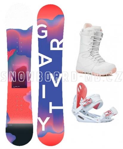 Dámský snowboardový komplet Gravity Sirene a boty bílo/růžové - AKCE