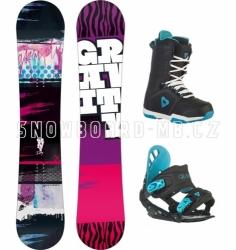 Dívčí dětský snowboard komplet Gravity Fairy black (větší boty)