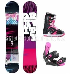 Dívčí černo-růžový snowboard komplet Gravity Fairy pro dívky