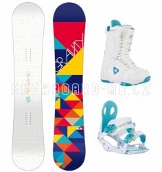 Dámský snowboard komplet Gravity Mist, světlý snowboardový set