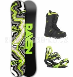 Pánský snowboard komplet Raven Core Carbon black/lime