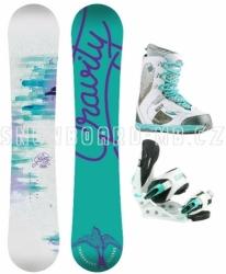 Dívčí snowboard komplet Gravity Fairy white, dětské snowboardové komplety