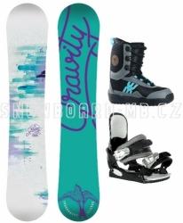 Dívčí snowboard komplet Gravity Fairy black, levné dětské snowboardové sety