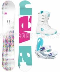 Dívčí snowboardový komplet Raven Pearl white (větší boty)