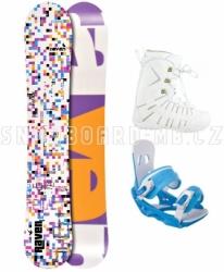 Dámský snowboardový komplet Raven Grid white s botami
