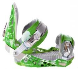 Vázání na snowboard Raven S600 green kovové ráčny a pata