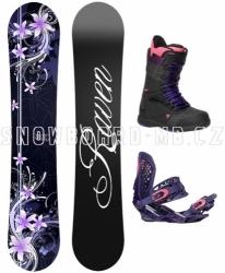 Dámský snowboard komplet Raven Flossy černý/fialový/růžový