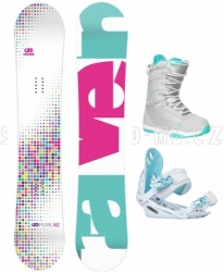 Dívčí snowboard komplet Raven Pearl white / blue, bílá / modrá