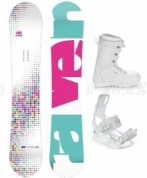 Dívčí snowboardový set Raven Pearl white / bílý s botami a vázáním