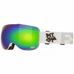 Snow brýle Pitcha FSP white/green mirrored, měnitelná dvojitá skla