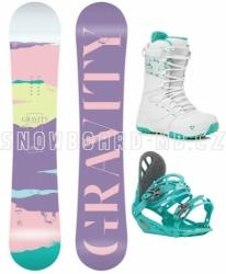 Dámský snowboard komplet Gravity Sirene, pastelové barvy, tyrkysové vázání