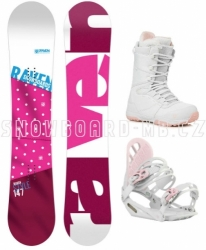 Dámský snowboard set Raven Style pink s botami Gravity white