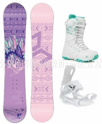 Dívčí snowboardový komplet Beany Spirit s vázáním SP s rychlým otevíráním patou