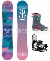 Dívčí nebo dámský snowboard komplet Gravity Voayer modrá, růžová