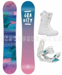 Dámský snowboardový set Gravity Voayer 2020/21 s bílým vázáním a botami