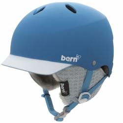 Dámská přilba BERN Lenox modrá, helma se zimním úpletem přes uši a kšiltem