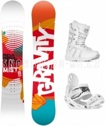 Dámský snowboard komplet Gravity Mist, barevný snb, bílé boty a vázání