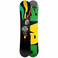 Freestyle snowboard Raven Rasta, twin snowboard banán, reverse camber